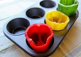Use a muffin tin to help stuff peppers